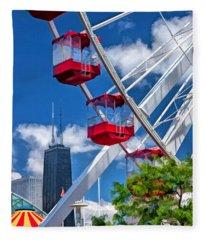 Chicago Navy Pier Ferris Wheel Fleece Blanket