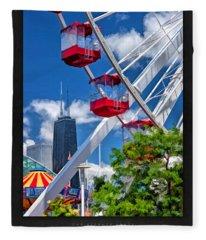 Navy Pier Ferris Wheel Poster Fleece Blanket