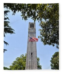 Nc State Memorial Bell Tower And Us Flag Fleece Blanket