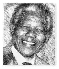 Fleece Blanket featuring the digital art Nelson Mandela by Rafael Salazar