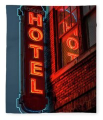 Neon Sign For Hotel In Texas Fleece Blanket