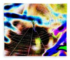 Neon Spider Fleece Blanket