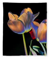 Neon Tulips Fleece Blanket