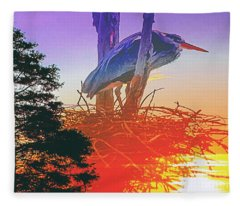 Nesting Heron - Summer Time Fleece Blanket