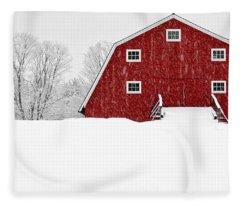 New England Red Barn In Winter Snow Storm Fleece Blanket