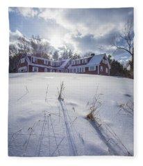 New England Red Farm House Winter Fleece Blanket