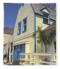 New England Style Building At Fisherman's Village Marina Del Rey Los Angeles Fleece Blanket