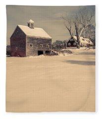 New Hampshire Winter Farm Scene Fleece Blanket