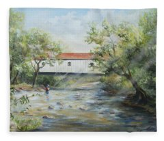 New Jersey's Last Covered Bridge Fleece Blanket