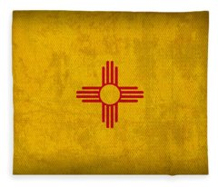 New Mexico State Flag Art On Worn Canvas Fleece Blanket