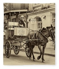 New Orleans - Carriage Ride Sepia Fleece Blanket