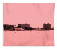 Peachy  View Of Beach Fleece Blanket