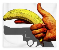New Photographic Art Print For Sale   Hand Gun Against A White Background Fleece Blanket
