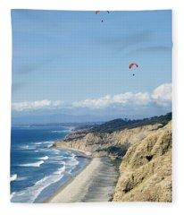 Hanggliding Above The Pacific Ocean And Mountains 10 Fleece Blanket