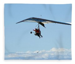 Hanggliding Couple In The Sky With An Aeroplane  Fleece Blanket