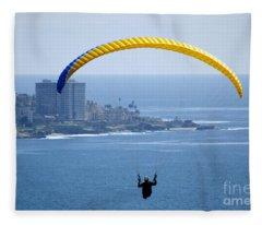 Hanggliding Over San Diego Fleece Blanket