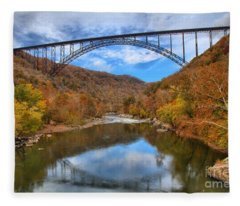 New River Gorge Reflections Fleece Blanket