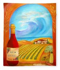 New Wine  Joel 2 Fleece Blanket