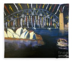 New Year Eve On Sydney Harbour Fleece Blanket