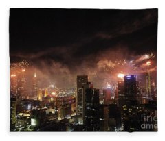 New Year Fireworks Fleece Blanket