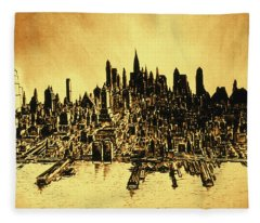 New York Skyline 78 - Mid Manhattan Ink Watercolor Painting Fleece Blanket