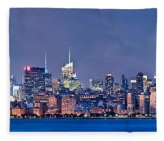 New York Blue Hour Panorama Fleece Blanket