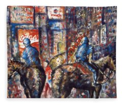 New York Broadway At Night - Oil On Canvas Painting Fleece Blanket