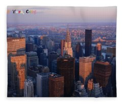 New York City At Dusk Fleece Blanket