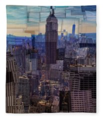 New York City Cubism Fleece Blanket