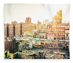 New York City - Graffiti Rooftops Of Chinatown At Sunset Fleece Blanket