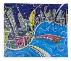 Manhattan Skyline Fleece Blankets