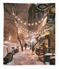 New York City - Winter Snow Scene - East Village Fleece Blanket