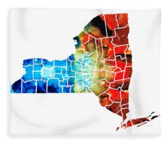 New York - Map By Sharon Cummings Fleece Blanket