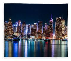 New York Panorama By Night Fleece Blanket