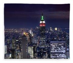 New York Skyline Night Color Fleece Blanket
