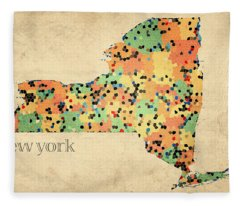 New York State Map Crystalized Counties On Worn Canvas By Design Turnpike Fleece Blanket