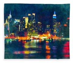 New York State Of Mind Abstract Realism Fleece Blanket