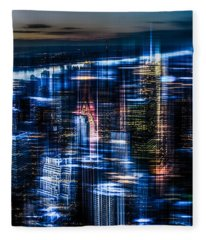 New York - The Night Awakes - Blue I Fleece Blanket