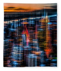New York- The Night Awakes - Orange Fleece Blanket