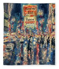New York Times Square 79 - Watercolor Art Painting Fleece Blanket