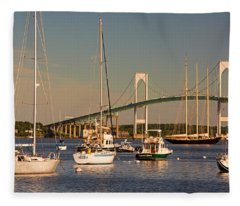 Newport Harbor With Pell Bridge Fleece Blanket