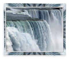 Niagara Falls American Side Closeup With Warp Frame Fleece Blanket