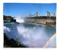 Niagara Falls Double Rainbow Fleece Blanket