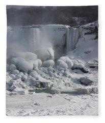 Niagara Falls Ice Buildup - American Falls New York State U S A Fleece Blanket