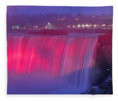 Niagara Falls Pretty In Pink Lights. Fleece Blanket