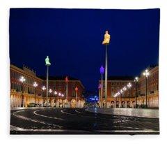 Nice France - Place Massena Blue Hour  Fleece Blanket