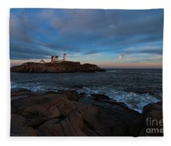 Night At Nubble Light Fleece Blanket