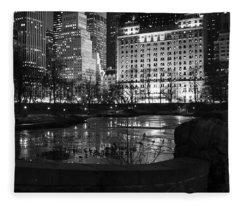 Night Central Park Lake H Fleece Blanket