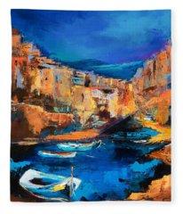 Night Colors Over Riomaggiore - Cinque Terre Fleece Blanket