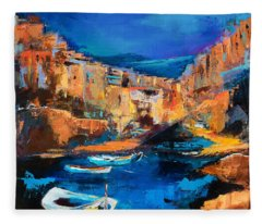 Night Colors Over Riomaggiore - Cinque Terre Fleece Blanket